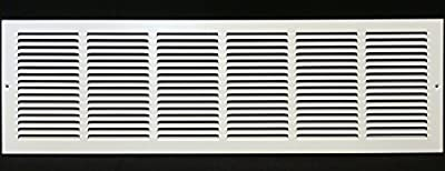 "30""w X 10""h Steel Return Air Grilles - Sidewall and Ceiling - HVAC DUCT COVER - [Outer Dimensions: 31.75""w X 11.75""h]"