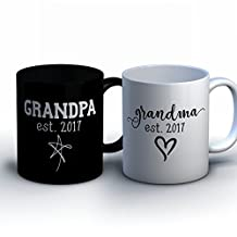 Personalized Grandpa and Grandpa Coffee Mugs - New Grandparent Baby Announcement Gift - Customized Pregnancy Announcement Mugs for Grandma and Grandpa