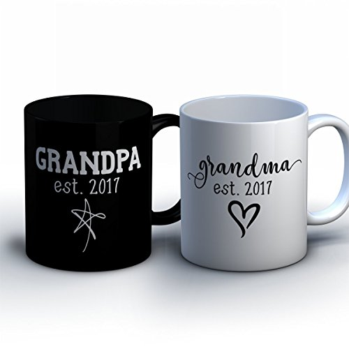 Couples Halloween Costumes For Interracial (Personalized Grandma and Grandpa Coffee Mugs - New Grandparent Baby Announcement Gift - Customized Pregnancy Announcement Mugs for Grandma and)