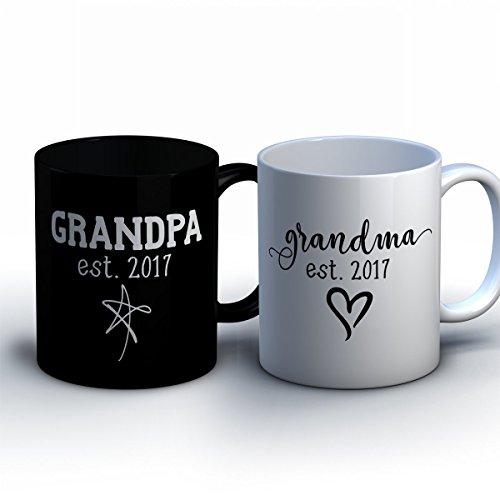 Personalized Grandma and Grandpa Coffee Mugs - New Grandparent Baby Announcement Gift - Customized Pregnancy Announcement Mugs for Grandma and Grandpa