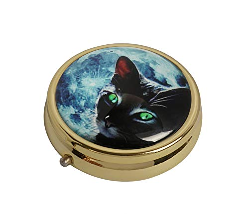 - YunShop Blue Moon Black Cat Custom Image Stainless Steel Gold Glass Pill Case Portable Pocket Travel Pill Box Storage Container