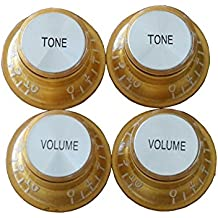 Guitar Top Hat Knobs Control Buttons Replacement Parts 2 Volume 2 Tone Gold With Silver Insert Brand New for Les Paul Gibson USA Guitar. (Gold)