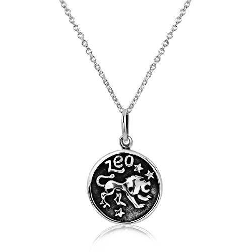 (WithLoveSilver 925 Sterling Silver 12 Zodiac Sign Horoscope Pendant Necklace 18 inches (Leo (The Lion)) )