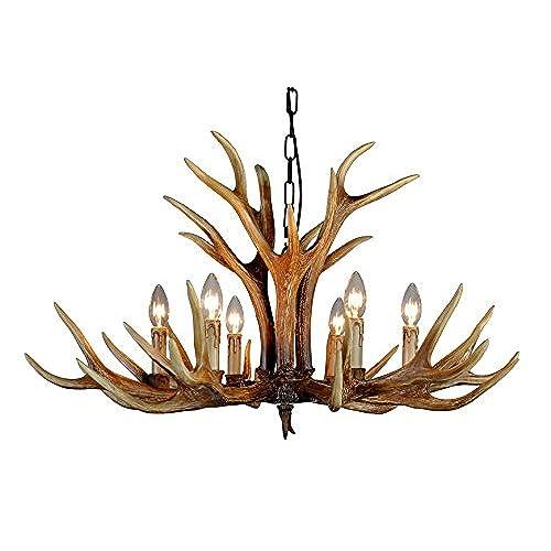 Antlers chandelier amazon effortinc antlers vintage style resin 6 light chandeliers american rural countryside antler chandeliersliving roombarcafe dining room deer horn aloadofball Gallery
