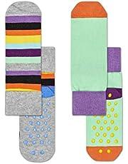 Happy Socks Unisex Baby Stripe Anti-Slip Socks, Pack of 2, Multicolour, 6-12M