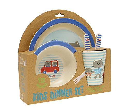 Gourmet Home Products 197974 5-Piece Kids Dinner Set, Car ()