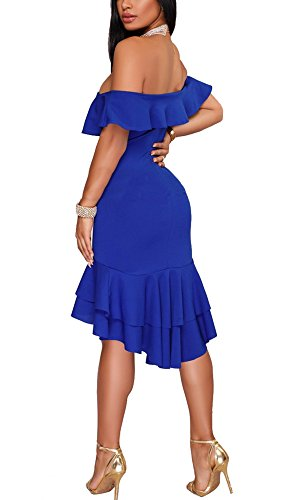 Allonly Hors Ruffle Épaule Sexy Des Femmes Soirée Sirène Robe Moulante Bleu Midi