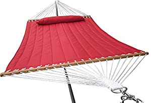 Palm Springs Deluxe Quilted Fabric Double Hammock with Spreader Bar Red