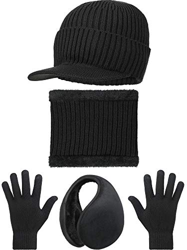 4 Pieces Winter Warm Set Knit Hat Scarf Earmuff Touch Screen Gloves Unisex