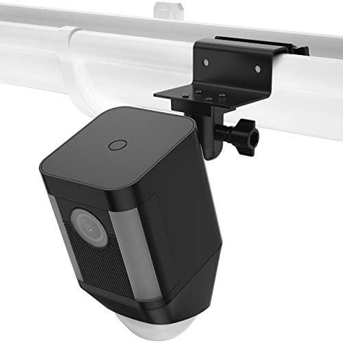 HOLACA Wetterfeste Dachrinnenhalterung kompatibel mit Ringstrahler Akku Cam - wetterfest 360 Grad Schutz verstellbar Outdoor Größere Höhe für Ring Spotlight Cam Akku Zubehör, schwarz