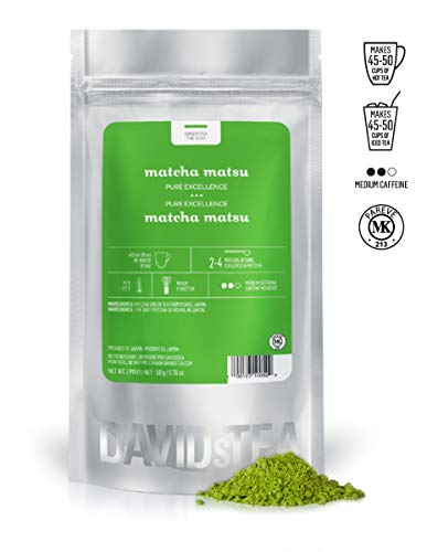 DAVIDsTEA Matcha Matsu Authentic Japanese Green Tea Powder, Premium Stoneground Green Tea for Hot or Iced Matcha, Lattes and Baking, 2 oz