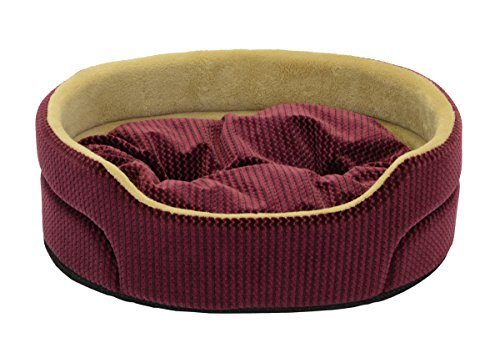 Dallas Manutacturing Co. Textured 19'' Oval Pet Bed, Burgundy by Dallas Manufacturing Co.
