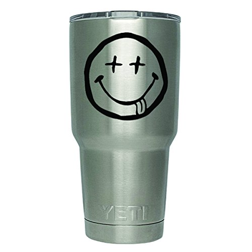 [DD373 2-Pack Smiley Nirvana Decal Sticker (DECAL ONLY CUP NOT INCLUDED) | 3 Inches | Premium Quality Black Vinyl | Yeti RTIC Orca Ozark Trail Tumbler] (Smiley Movie Mask)