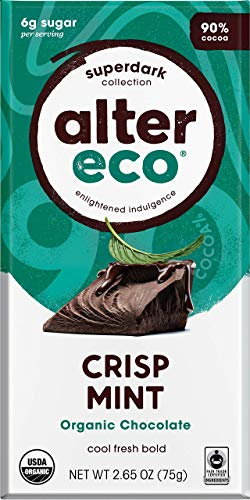 - Alter Eco, Bar Chocolate Super Dark Mint Crisp Organic, 2.65 Ounce