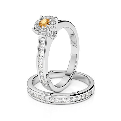Or blanc 18 carats 0,10 ct G-H/VS sertie de diamants ronds Cut Citrine et mariée Bague de fiançailles et ensemble de Agdr-1339
