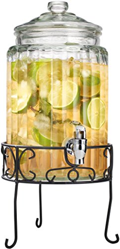 Palais Glassware Strie Beverage Dispenser - Decorative Ribbed Design with Stand, 1.5 gal