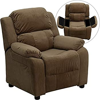 Image of Deluxe Heavily Padded Contemporary Brown Microfiber Kids Recliner with Storage Arms Home and Kitchen