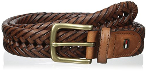 Tommy Hilfiger Leather Braided Belt - Casual for Mens Jeans with Solid Strap Single Prong Buckle, saddle, 30