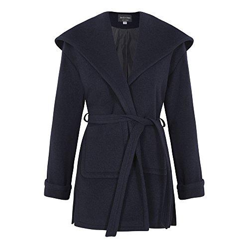 De La Creme – Navy Women`s Winter Wool Cashmere Wrap Hooded Coat Size 4