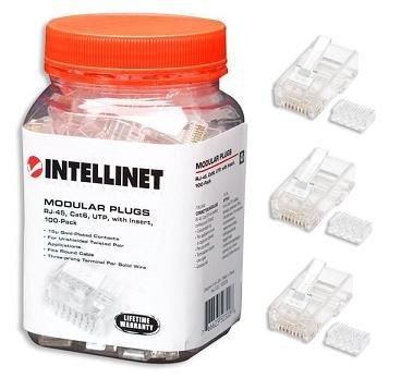 Intellinet Cat6 RJ45 UTP Stranded Modular Plugs, 100 Pack (502344)