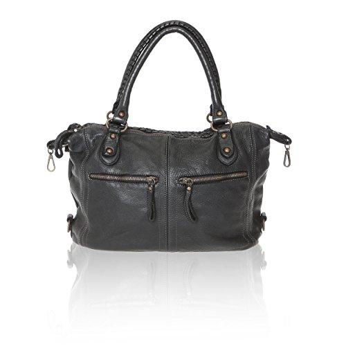 Intreccio Linea Borse Mano con Italy Vera da 35x26x12 in Borsa Donna Cm Vintage Black Made Pelle Chicca Nero a in Handbag qO7d5qna