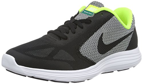 NIKE Boys' Revolution 3 (GS) Running-Shoes, Black/Black/White/Volt, 6 M US Big Kid