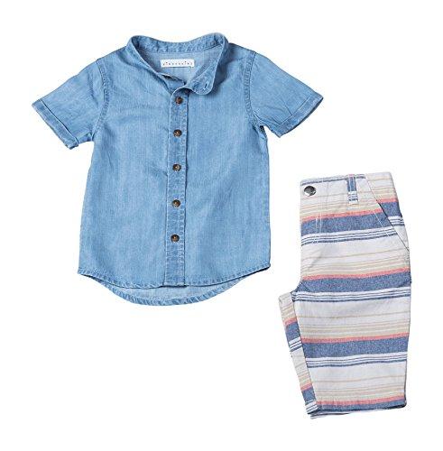 Kinderkind Kids Toddler Boy's 2 Piece Short Sleeve Tencil Button Up Shirt and Cabana Shorts Set 5T Blue Multi