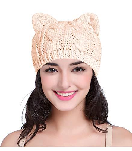 v28 Women Men Girls Boys Teens Cute Cat Ear Knit Cable Rib Hat Cap Beanie (Coral Pink)
