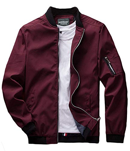 sandbank Men's Slim Fit Lightweight Softshell Flight Bomber Jacket Coat (US M = Asian Tag 3XL, Wine Red #2) ()
