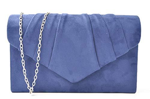 Nodykka Women Evening Envelope Velvet Handbag Party Bridal Clutch Purse (Velvet Navy Blue)