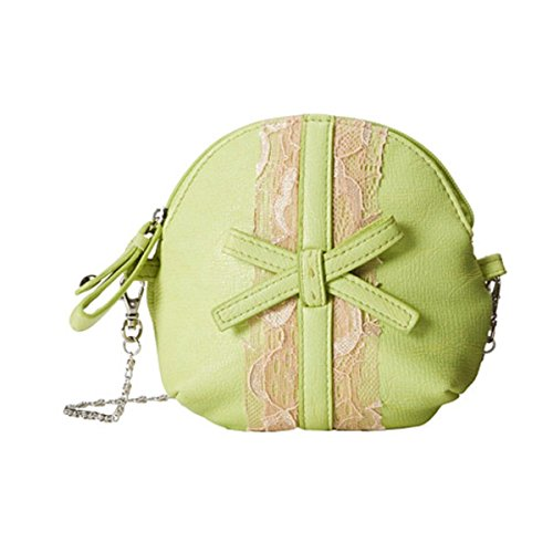 Jessica Simpson Womens Bella Bow Lace Trim Pouch Coin Purse Green Small