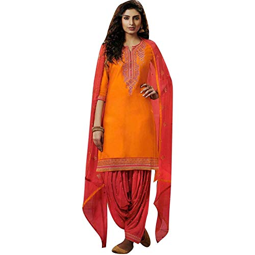 Ladyline Cotton Embroidered Patiala Salwar Kameez Women's - Salwar Suit Cotton