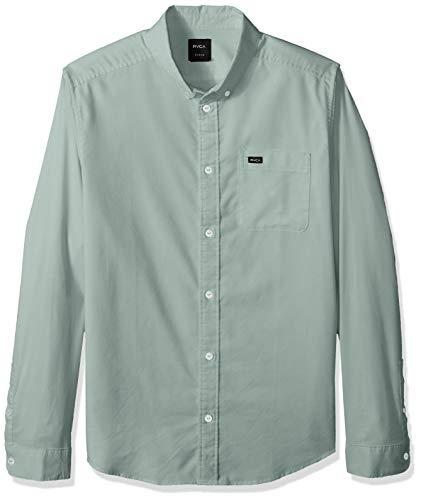 (RVCA Men's Thatll DO Stretch Long Sleeve Button UP Shirt, Pine Tree, L)