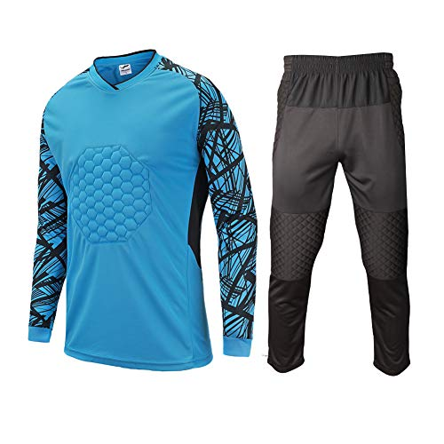 Shinestone Kids Youth Adult Men's Goalkeeper Armor BodyShield Padded Shirt Pants with Sponge Protective Rib Chest Protector for Football Soccer Baseball (Blue, Small)