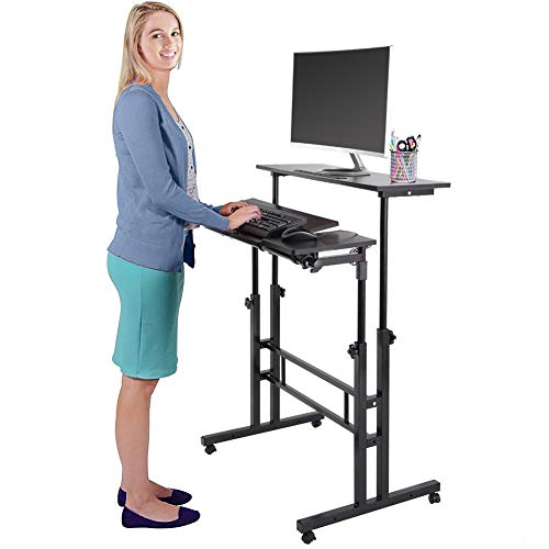No Tool Adjustable Keyboard Tray - Multi-Functional Computer Table Adjustable Height Rolling Cart Tilting Notebook Mobile Table Sit-Stand Laptop Desk for Home Office Workstation