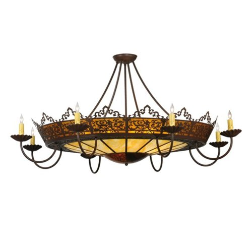 Meyda Tiffany Custom Lighting 114129 Stanley 16-Light Semi-Flush Mount, Cafe Noir Finish with Amber Mica and Faux Alabaster