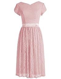 Alagirls Short V-neck Bridesmaid Dress Lace Sash Prom Evening Dress Sleeveless