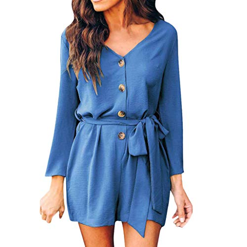 Womens Long Sleeve Rompers, Summer Solid V Neck Buttoned Short Jumpsuit Dressy Comfy One Piece Playsuit ❤️Sumeimiya Blue ()