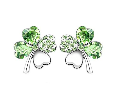 Heart Shaped Swarovski Element Crystal Four Leaf Clover Stud Earrings Fashion Jewelry for Women (More Color) (Olive Green)