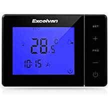 Excelvan Digital Large LCD Display Touching Screen Electric Heating Programmable Thermostat with Blue Backlight, Black (Black)