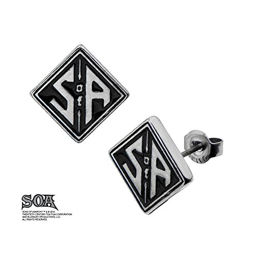 - INOX Sons of Anarchy Stainless Steel SOA Square Logo Stud Earrings