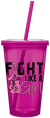 Fight Like a Girl Boxing Gloves Breast Cancer Acrylic Tumbler with Straw - Hot Pink