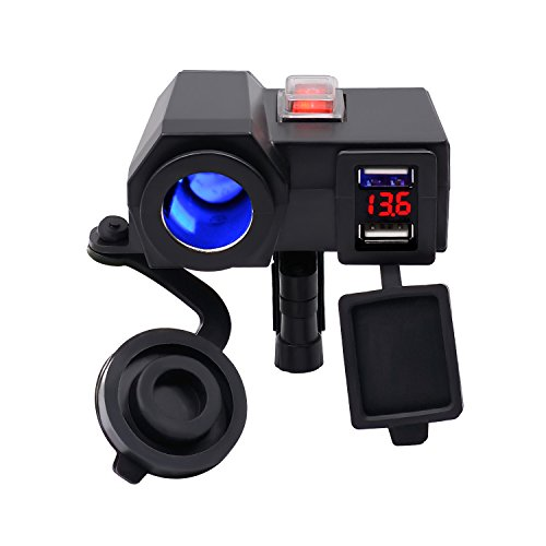 BlueFire Waterproof 5V/2.1A Dual USB Charger Socket Motorcycle Handlebar Clamp Power Adapter Charger USB Charging System with Cigarette Lighter Socket and Voltmeter for Phones/Tablets/GPS