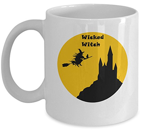 Wicca PAGAN coffee mug - Wicked Witch Halloween moon cup - unique esoteric 11oz ceramic tea cup gift - Sold only by Saroth design ()