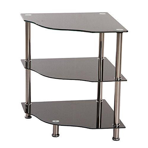 3 Tier Black Glass Corner Side Lamp Table Stand Shelf ...