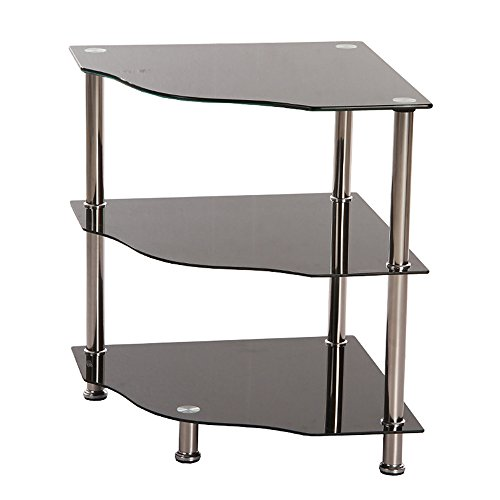 3 Tier Black Glass Corner Side Lamp Table Stand Shelf Display Unit Metal Tube (Tube Unit)