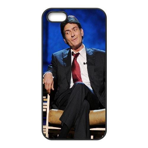 Charlie Sheen Brunette Man Suit Smile Chair coque iPhone 5 5S cellulaire cas coque de téléphone cas téléphone cellulaire noir couvercle EOKXLLNCD22767