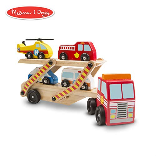 Melissa & Doug Emergency Vehicle Carrier (Two-Level Tractor-Trailer Truck Toy with 4 Vehicles)