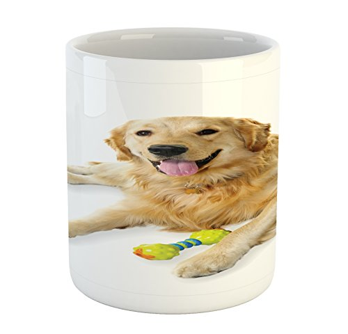 Golden Retriever Mug by Ambesonne, Pet Dog Laying down with Toy Friendly Domestic Puppy Playful Companion, Printed Ceramic Coffee Mug Water Tea Drinks Cup, Multicolor