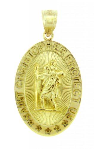 Petits Merveilles D'amour - 14 ct Or 585/1000 Religieux Pendentif - Christopher nous protéger Ovale Or Jaune Pendentif